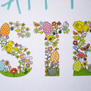 Happy easter spring colours rabbits card
