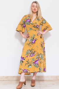 Flora Kimono Dress Mustard - women's fashion