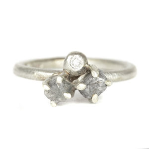 Caw Set Rough Diamond Ring With Diamond Set Bauble - engagement rings
