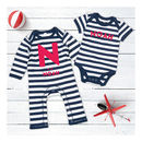 Personalised Two Piece Striped Romper And Vest Gift Set