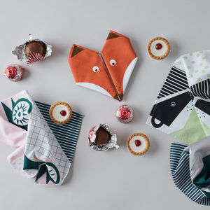 Origami Cotton Napkins : Woodland Mixed Set Of Four - dining room