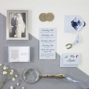 Something Old, New, Borrowed, Blue And A Sixpence - wedding cards & wrap