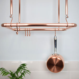 Copper Ceiling Pot And Pan Rack, Organiser - on trend: copper