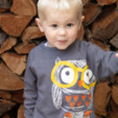 Kids Unisex Long Sleeved Grey Owl Raglan Top