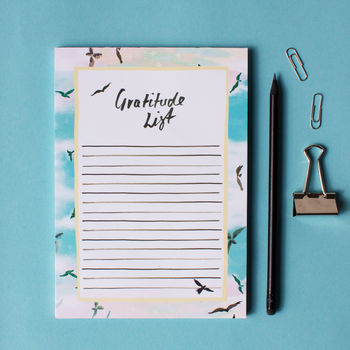 A5 Birds In Flight Gratitude List Notepad