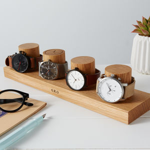 Personalised Solid Oak Watch Stand For Four Watches - watch storage