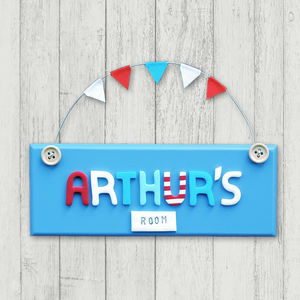 Personalised Wooden Button Door Plaque - baby's room