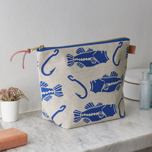 Bass And Hook Fish Nautical Linen Wash Bag - make-up bags