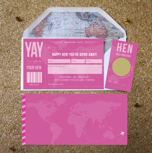 Hen Party Surprise Scratch Off Boarding Pass - announcement cards