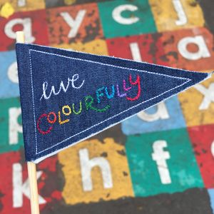 'Live Colourfully' Mini Pennant Flag