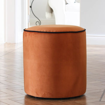 Burnt Orange And Black Piped Velvet Stool