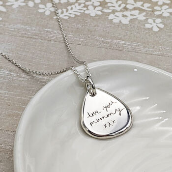 Personalised Handwritten Message Silver Necklace