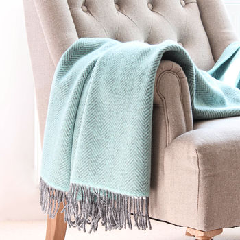 Cashmere And Merino Wool Throw In Duck Egg And Grey