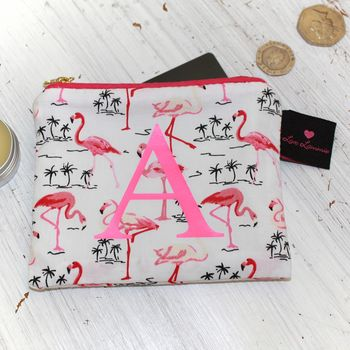 Personalised Flamingo Print Coin Purse