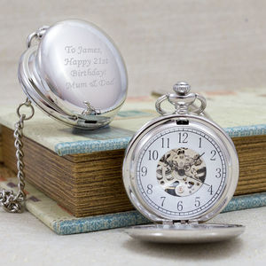 Personalised Skeleton Mechanical Pocket Watch - gifts for grooms