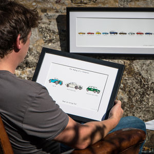 Bespoke Carvolution®. Your Life In Cars™ Framed - gifts for him