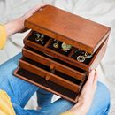 Ladies Personalised Leather Jewellery Box Large