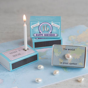 Happy 16th Birthday Greeting For Her In A Matchbox - decorative accessories