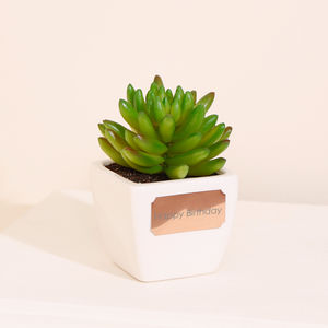 Mini Artificial Succulent With Personalised Pot - artificial plants
