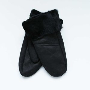 Black Sheepskin Womens Mitten - womens