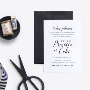 Prosecco And Cake Birthday Party Invitations