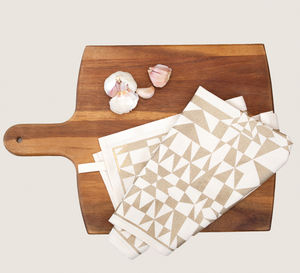 Screen Printed Geometric Pattern Tea Towel - kitchen accessories