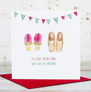 To A Very Special Couple Christmas Slippers Card - cards