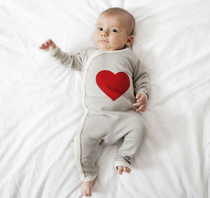 Heart Baby Romper Organic Cotton - babygrows