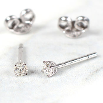 Diamond And 18ct White Gold Claw Set Earrings