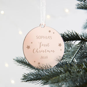 Baby's First Christmas Personalised Gold Bauble - baby's first christmas