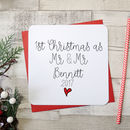 '1st Christmas As Mr And Mrs' Personalised Script Card