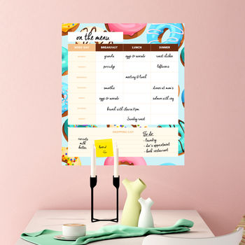 Weekly Menu Dry Erase Board With Donuts