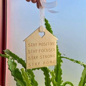 Stay At Home Hanging Wooden Decoration