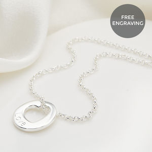 Personalised Sterling Silver Open Heart Hope Necklace