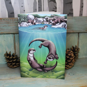 Otters Illustration Notebook With Lined Pages