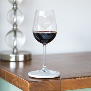 'I Love To Wine' Wine Glass