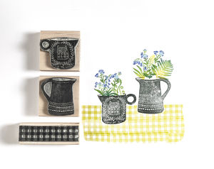 Flowers And Jug Rubber Stamps