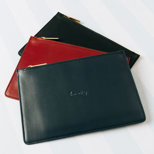 Leather Clutch Bag - women's accessories