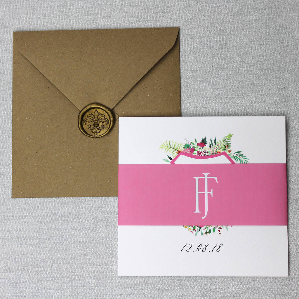 floral monogram crest wedding invitation suite by beija flor studio ...