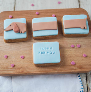 'I Long For You' Sausage Dog Biscuits - gifts for her