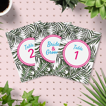 Tropical Jungle Palms Wedding Table Numbers Pack
