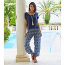 Navy Blue And White Ikat Cotton Harem Trousers
