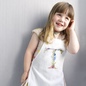 Personalised Kids Apron With Botanical Lettering - aprons