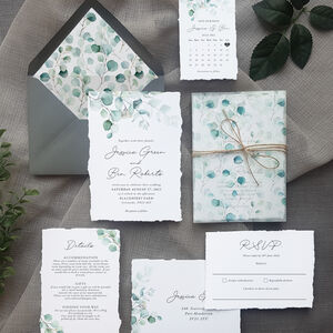 Greenery Watercolour Wedding Invitations