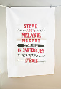 Personalised Established Anniversary Tea Towel Cotton - kitchen accessories