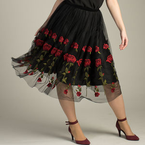 Handmade Rosie Skirt With Tulle Embroidered Roses - women's fashion