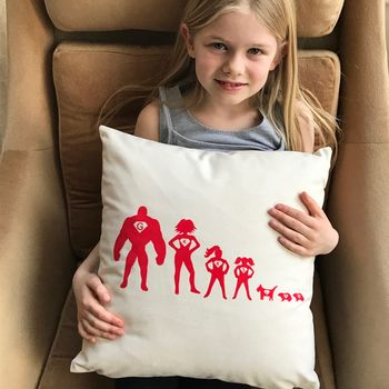 Personalised Cushion Cover Superhero Family