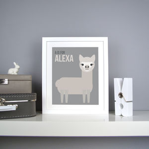 Personalised Alpaca Nursery Print