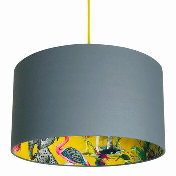 Mustard Chi Miracle Lampshades In Slate Grey Cotton