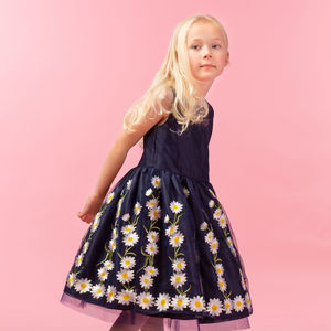 Daisy Navy Embroidered Dress - clothing
